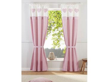 Home affaire Gardine Herz Spitze 145 cm, Kräuselband, 110 cm rosa Blickdichte Vorhänge Gardinen