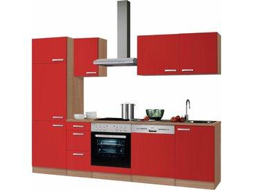 OPTIFIT Küchenzeile Odense, ohne E-Geräte, Breite 270 cm, mit 28 mm starker Arbeitsplatte, Gratis Besteckeinsatz Einheitsgröße rot Küchenzeilen Geräte -blöcke Küchenmöbel Arbeitsmöbel-Sets
