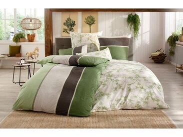 BIERBAUM Bettwäsche Alina, mit gemusterten Streifen B/L: 135 cm x 200 (1 St.), 80 40 Renforcé grün nach Größe Bettwäsche, Bettlaken und Betttücher