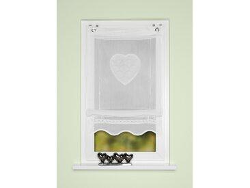 HOME WOHNIDEEN Bändchenrollo CORAZON, mit Hakenaufhängung, Bändchenrollo, bestickt 130 cm, 60 cm weiß Wohnzimmergardinen Gardinen nach Räumen Vorhänge
