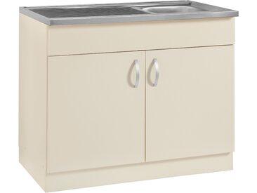 wiho Küchen Spülenschrank Amrum 100 x 85 60 (B H T) cm, 2-türig gelb Spülenschränke Küchenschränke Küchenmöbel Schränke
