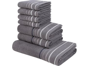 my home Handtuch Set Niki, mit Streifenbordüren 7 tlg. grau Handtuch-Sets Handtücher Badetücher