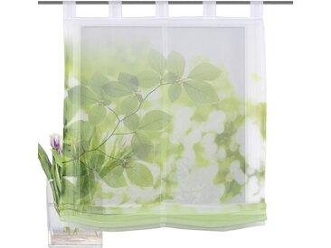HOME WOHNIDEEN Raffrollo LEAVES, mit Schlaufen 140 cm, Schlaufen, 60 cm grün Wohnzimmergardinen Gardinen nach Räumen Vorhänge