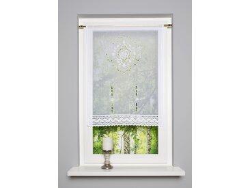 HOME WOHNIDEEN Scheibengardine ALEGRA 100 cm, Stangendurchzug, 60 cm weiß Wohnzimmergardinen Gardinen nach Räumen Vorhänge