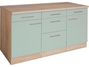 OPTIFIT Unterschrank Kalmar, Breite 150 cm B/H/T: x 85 60 cm, 2 grün Unterschränke Küchenschränke Küchenmöbel