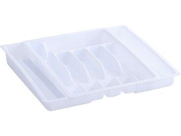 Zeller Present Besteckkasten, ausziehbar 29x38x6,5 cm weiß Küchen-Ordnungshelfer Küchenhelfer Küche Schubladeneinsätze