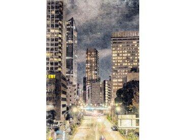 queence Leinwandbild Stadt Wolkenkratzer 80x120 cm grau Leinwandbilder Bilder Bilderrahmen Wohnaccessoires