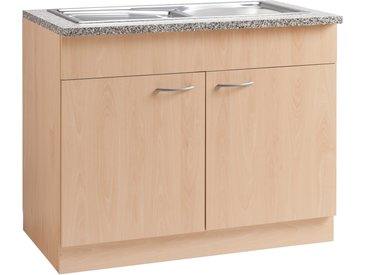 wiho Küchen Spülenschrank Kiel, 100 cm breit B/H/T: x 85 60 cm, 2 beige Spülenschränke Küchenschränke Küchenmöbel