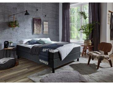 ATLANTIC home collection Boxbett Struktur, 140x200 cm, 7-Zonen-Taschen-Federkernmatratze, H3, Mit Bettwäsche-Set grau Einzelbetten Betten Komplettbetten
