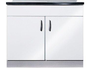 wiho Küchen Spülenschrank Amrum, 100 cm breit mit Auflagespüle B/H/T: x 85 60 cm, 2 weiß Spülenschränke Küchenschränke Küchenmöbel