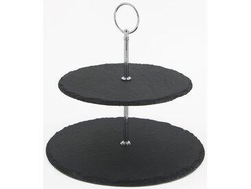 NOOR LIVING Etagere, mit Schieferplatten Einheitsgröße schwarz Tischaccessoires Geschirr, Porzellan Haushaltswaren Etagere