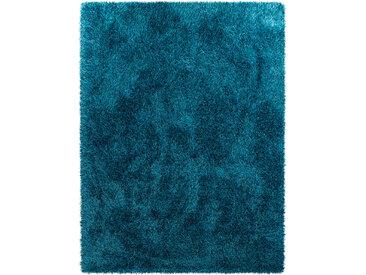 DELAVITA Hochflor-Teppich Piezova, rechteckig, 75 mm Höhe, Uni Shaggy, Wohnzimmer B/L: 240 cm x 340 cm, 1 St. blau Esszimmerteppiche Teppiche nach Räumen