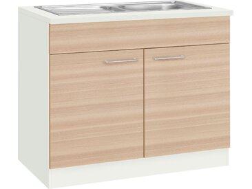 wiho Küchen Spülenschrank Zell, Breite 100 cm B/H/T: x 85 60 weiß Spülenschränke Küchenschränke Küchenmöbel