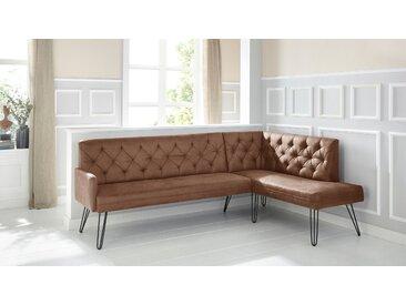 exxpo - sofa fashion Eckbank Doppio Microfaser Antiklederoptik, langer Schenkel links, 236cm braun Eckbänke Sitzbänke Stühle