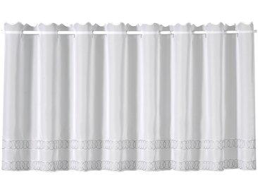 Gerster Scheibengardine Gino, HxB: 45x150, mit feinem Stickdesign 45 cm, Durchzuglöcher, 150 cm grau Wohnzimmergardinen Gardinen nach Räumen Vorhänge