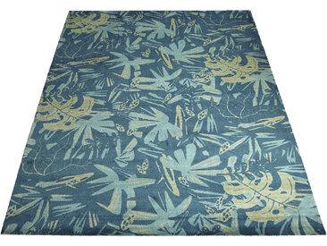 Bruno Banani Teppich Blätter, rechteckig, 8 mm Höhe, Druckteppich, Wohnzimmer B/L: 200 cm x 300 cm, 1 St. blau Esszimmerteppiche Teppiche nach Räumen