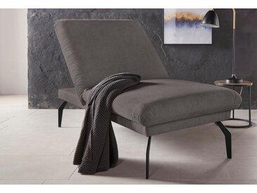 Places of Style Hockerbank Salerno, durch Rückenverstellung vollwertiges Sitzmöbel Struktur weich grau Polsterhocker Sessel und Hocker Sofas Couches