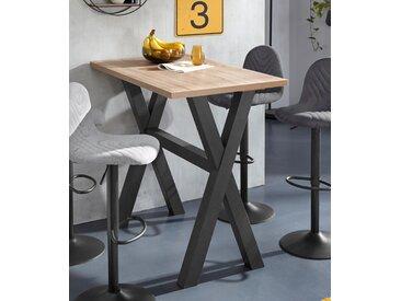 Bartisch, Gestell in X-Form (Breite 120 oder 140 cm) B/H/T: cm x 105 70 cm, beige Bartische, Theken Tresen Barmöbel Küchenmöbel Bartisch