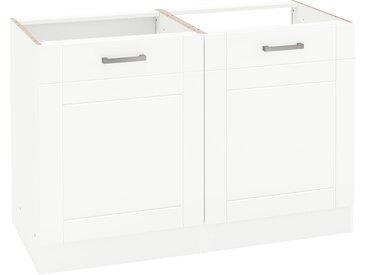 HELD MÖBEL Spülenschrank Tinnum, 120 cm breit, MDF-Fronten, Metallgriffe, inklusive Einbauspüle aus Edelstahl B/H/T: x 82 60 weiß Spülenschränke Küchenschränke Küchenmöbel
