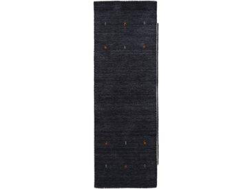 carpetfine Läufer Gabbeh Uni, rechteckig, 15 mm Höhe, reine Wolle, handgewebt, Tiermotiv B/L: 80 cm x 400 cm, 1 St. schwarz Teppichläufer Bettumrandungen Teppiche
