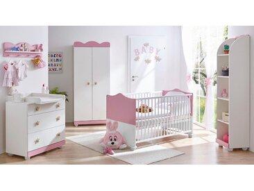 Ticaa Babyzimmer-Komplettset Prinz/Prinzessin, (Set, 5 St.), Bett + Wickelkommode Schrank Wandregal Anstellschrank Einheitsgröße rosa Baby Baby-Möbel-Sets Babymöbel