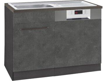 HELD MÖBEL Spülenschrank Tulsa, 110 cm breit, inkl. Tür/Sockel für Einbaugeschirrspüler, schwarzer Metallgriff, hochwertige MDF Front, Einbauspüle aus Edelstahl B/H/T: x 85 60 cm, 1 grau Spülenschränke Küchenschränke Küchenmöbel