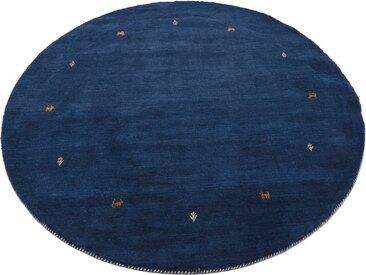 carpetfine Wollteppich Gabbeh Uni, rund, 15 mm Höhe, reine Wolle, handgewebt, Tiermotiv, Wohnzimmer (Ø 250 cm), blau Schurwollteppiche Naturteppiche Teppiche