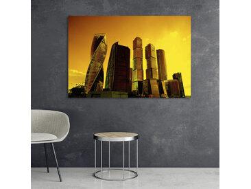 queence Acrylglasbild Stadt 150x100 cm gelb Acrylglasbilder Bilder Bilderrahmen Wohnaccessoires