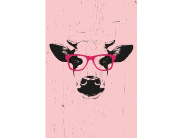 queence Leinwandbild Kuh mit Brille 60x90 cm rosa Leinwandbilder Bilder Bilderrahmen Wohnaccessoires