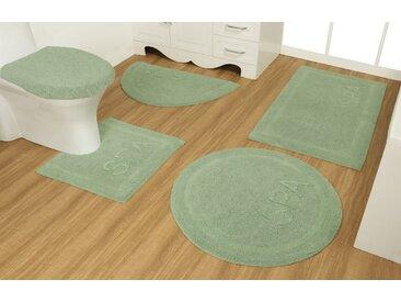 OTTO products Badematte Rimma, Höhe 14 mm, strapazierfähig, aus recycelter Baumwolle WC-Vorleger rechteckig mit Ausschnitt (55 cm x 50 cm) WC-Deckelbezug (47 cm), 2 St. grün Einfarbige Badematten