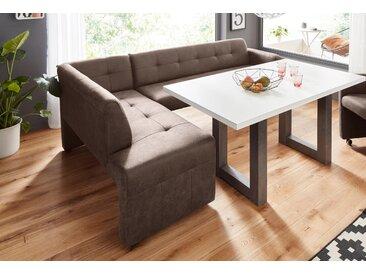 exxpo - sofa fashion Eckbank Barista, Frei im Raum stellbar B/H/T: 157 cm x 82 245 cm, Luxus-Microfaser, langer Schenkel rechts braun Sitzbänke Nachhaltige Möbel