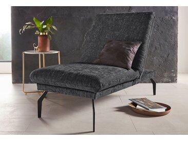 Places of Style Hockerbank Salerno, durch Rückenverstellung vollwertiges Sitzmöbel Luxus-Microfaser Chenilleoptik grau Polsterhocker Sessel und Hocker Sofas Couches