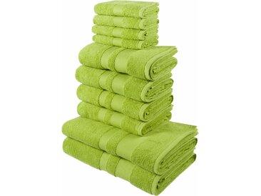 my home Handtuch Set Ada, mit abgesetzter Bordüre 10tlg.-Set grün Handtuch-Sets Handtücher Badetücher Handtuchset