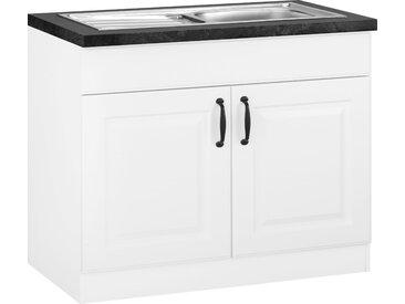 wiho Küchen Spülenschrank Erla, 100 cm breit mit Kassettenfront B/H/T: x 85 60 cm, 2 weiß Spülenschränke Küchenschränke Küchenmöbel