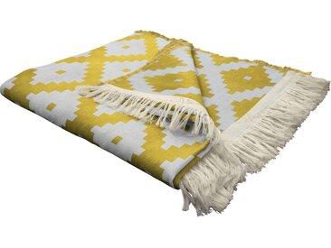 Wohndecke Maroccan Shiraz, Adam 145x190 cm, Baumwolle gelb Baumwolldecken Decken Wohndecken