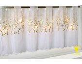 Delindo Lifestyle Scheibengardine STERNENREGEN, HxB: 45x115, mit LED-Beleuchtung 45 cm, Stangendurchzug, 115 cm weiß Wohnzimmergardinen Gardinen nach Räumen Vorhänge