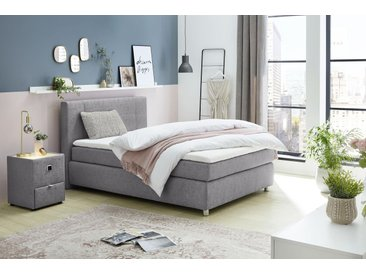 Jockenhöfer Gruppe Boxspringbett Strukturstoff, 140x200 cm, Bonnell-Federkernmatratze, H2 grau Einzelbetten Betten Komplettbetten