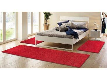 Theko Exklusiv Bettumrandung Gabbeh uni 14 (2x Brücke 140x70 cm & 1x Läufer 320x70 cm), 15 mm rot Bettumrandungen Teppiche