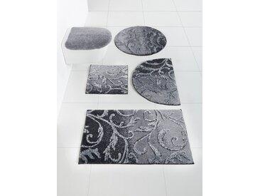Badgarnitur mit Effektgarn 5, ca. 80/150 cm grau Grafische Badematten