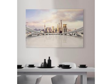 queence Acrylglasbild Stadt 150x100 cm weiß Acrylglasbilder Bilder Bilderrahmen Wohnaccessoires