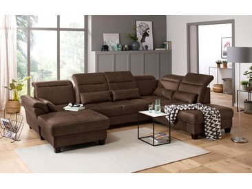 Premium collection by Home affaire Wohnlandschaft Solvei Luxus-Microfaser Lederoptik, 342 cm, Ottomane rechts, mit Sitztiefenverstellung + Kopfteilverstellung braun Wohnlandschaften Sofas Couches