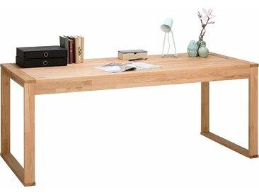 Schreibtisch Simone Tischplatte: Massivholz, Gestell: Holzwerkstoff beige Schreibtische Bürotische und Büromöbel Tisch