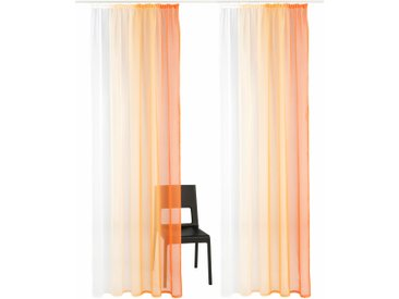 my home Gardine Valverde, Vorhang, Fertiggardine, transparent 3, H/B: 225/144 cm, transparent, Kräuselband orange Wohnzimmergardinen Gardinen nach Räumen Vorhänge