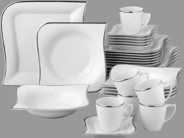 van Well Kombiservice Silverline, (Set, 30 tlg.) Einheitsgröße weiß Geschirr-Sets Geschirr, Porzellan Tischaccessoires Haushaltswaren