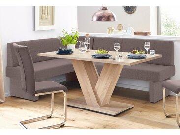 Eckbank B/H/T: 222 cm x 89 162 cm, Webstoff, langer Schenkel rechts braun Eckbänke Sitzbänke Stühle