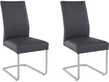 Home affaire Freischwinger Greenline, Bezug aus Echtleder und Gestell Edelstahl B/H/T: 46,5 cm x 97 61 cm, 2 St., grau Stühle Sitzbänke