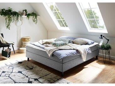 ATLANTIC home collection Boxbett Struktur, 180x200 cm, 7-Zonen-Taschen-Federkernmatratze, H3, Mit Bettwäsche-Set grau Einzelbetten Betten Komplettbetten