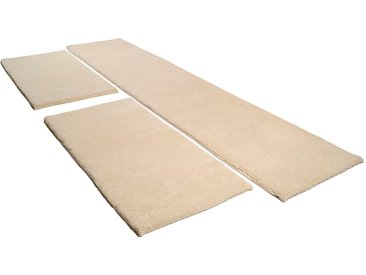 THEKO Bettumrandung Hadj Uni, echter Berber, reine Wolle, handgeknüpft B/L (Brücke): 70 cm x 140 (2 St.) (Läufer): 340 (1 St.), rechteckig weiß Bettumrandungen Läufer Teppiche