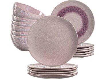 LEONARDO Geschirr-Set Matera, (Set, 18 tlg.), rustikaler Look Einheitsgröße rosa Geschirr-Sets Geschirr, Porzellan Tischaccessoires Haushaltswaren