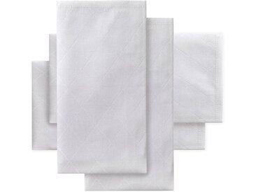 Stoffserviette, Rhomus, DDDDD (Set, 4-tlg.) 50x50 cm quadratisch, Baumwolle weiß Stoffservietten Tischwäsche Serviette